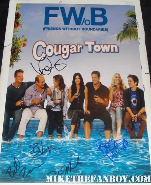 cougar town season 2 rare promo poster courteney cox cast signed autograph promo bill lawrence dan byrd busy phillips