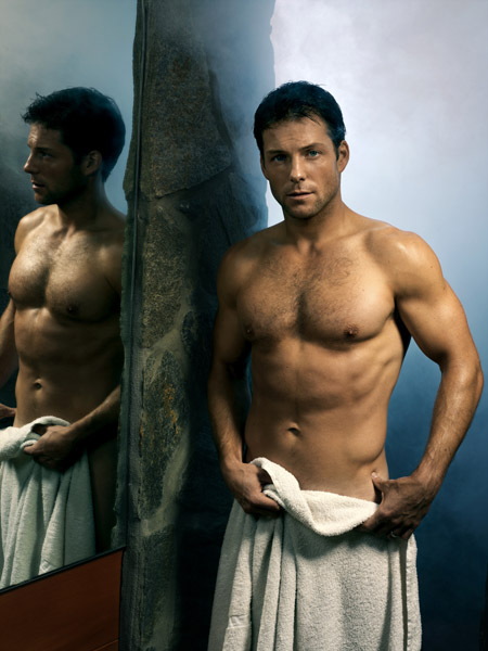 Jamie Bamber shirtless hot and sexy sweaty in the locker room after a shower or game