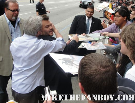 dustin hoffman and jack black rainman signed autographkurt russell rare promo mini poster on the carpet at the kung fu panda 2 signing autographs at the los angeles premiere rare mini poster