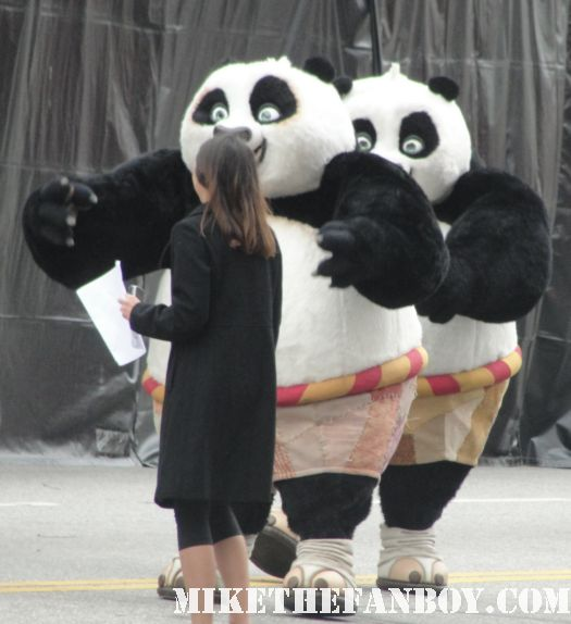 kung fu panda 2 premiere giant stuffed panda costumes rare photo angelina jolie jack black reused costume promo hot disneyland