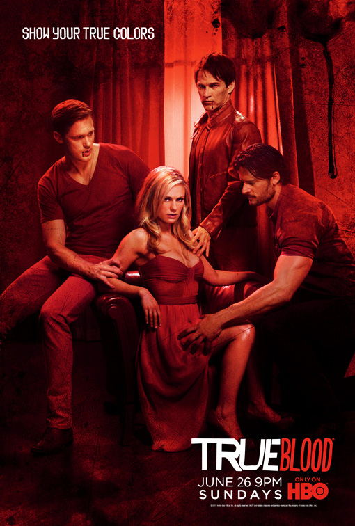 true blood season 4 rare promo poster true colors anna paquin stephen moyer sookie stackhouse red poster alexander skarsgard joe alcide rare hot sexy vampire