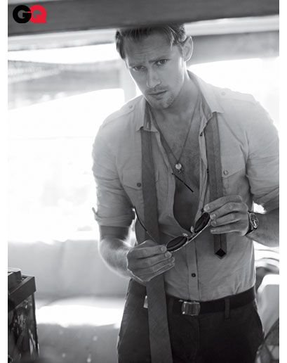 alexander skarsgard sexy hot shirtless muscle true blood eric june 2011 issue of gq magazine rare promo photo shoot blonde rare eric northman true blood season 4 suit tie rare unbuttoned shirt chest muscle abs