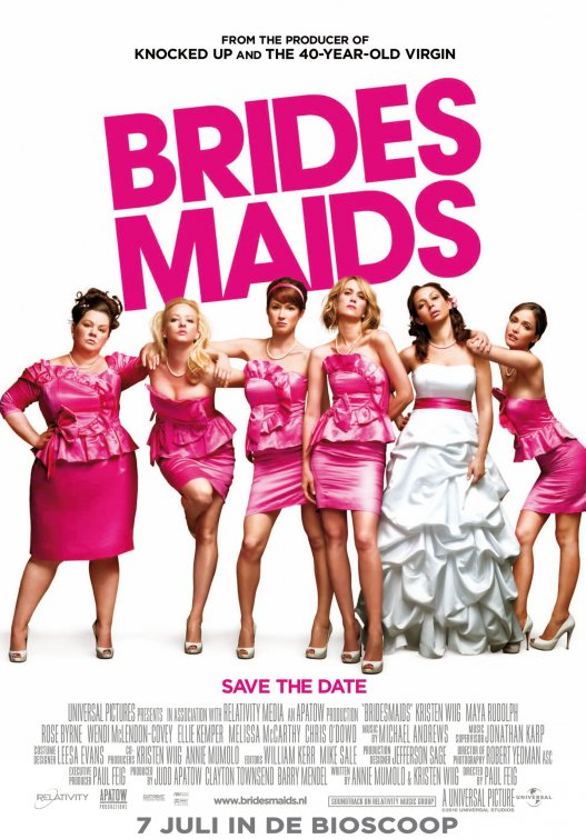 bridesmaids promo one sheet movie poster french hot kristen wiig maya rudolph melissa mccarthy ellie kemper hot promo signed