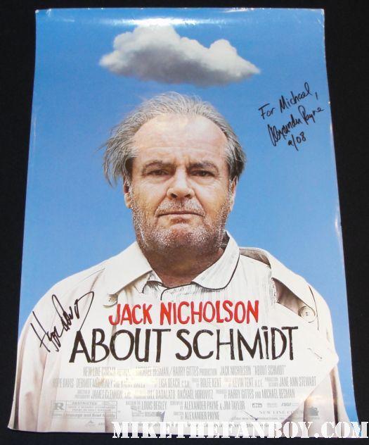 About Schmidt signed autograph promo mini poster hop davis jack nicholson rare alexander payne