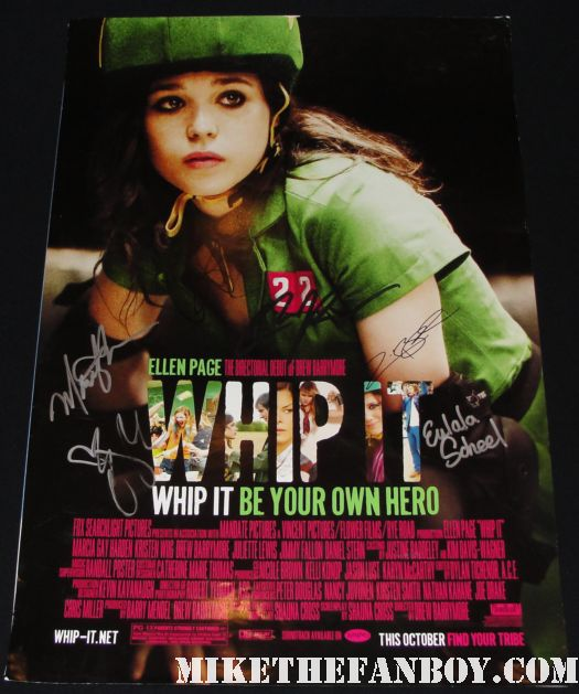 marcia gay hardin signed autograph whip it promo mini poster drew barrymore ellen page zoe