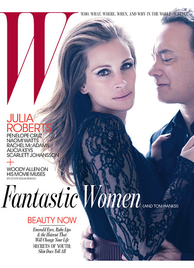 Tom hanks and julia roberts on the june 2011 issue of w magazine looking hot and sexy rare photo shoot pretty woman hot sexy rare promo the burbs larry crowne press sexy magazine cover