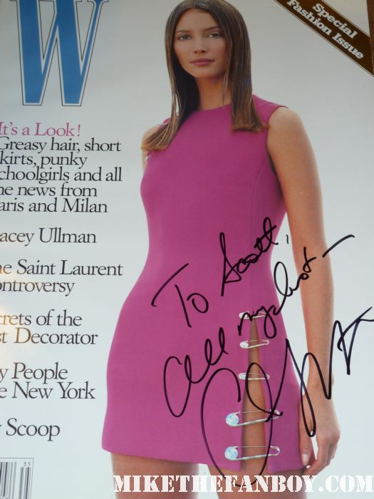 christy turlington signed autographed photo rare promo flag calvin klein valentino model supermodel promo fans no woman, no cry documentary hot sexy photo shoot promo W magazine