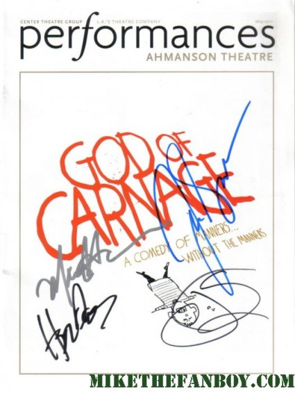 god of carnage hand signed program ahmanson theatre rare hope davis james gandolfini jeff daniels marcia gay hardin rare autograph signature rare sexy hot promo