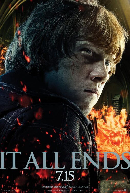harry_potter_and_the_deathly_hallows_part_two_ver4 ron wesley rupert grint individual mini promo poster hot rare harry potter promo sexy silly final installment release date