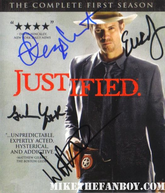 justified hand signed dvd blu rare season 1 cover with Timothy Olyphant Walton Goggins Erica Tazel Graham Yost autograh hand signed promo