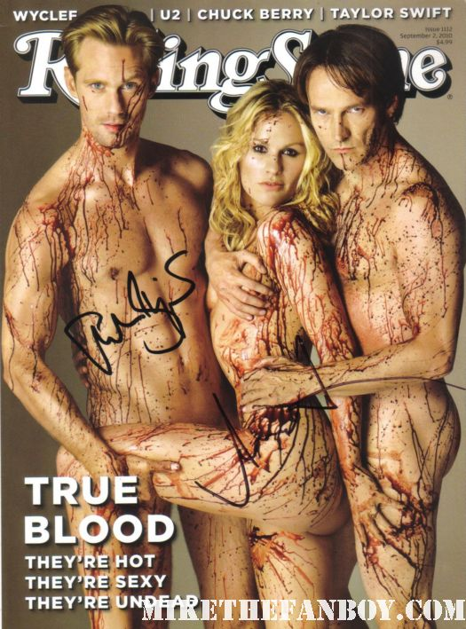 true blood naked cast signed autograph rolling stone magazine rare hot sexy damn fine promo alexander skarsgard anna paquin stephen moyer rare sookie stackhouse eric northman bill compton