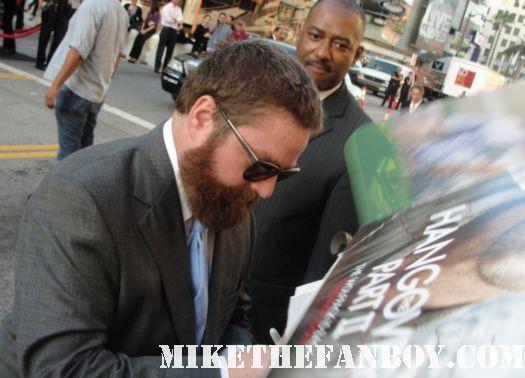 Zach Galifianakis nd-the-hangover-part-II-cast-sign-autographs-at-the-Hangover-part-II-movie-premiere-inhollywood-monkey rare promo mini poster hot rare beard GQ Magazine douche