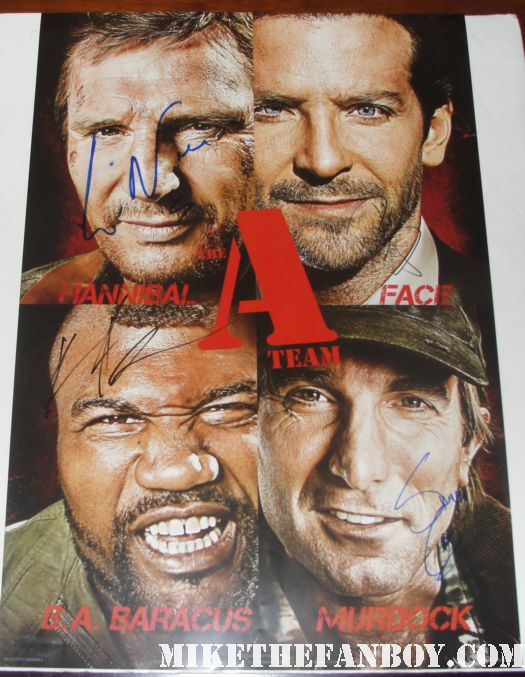 the a team cast signed movie mini promo poster bradley cooper liam neeson rampage jackson rare copely district 9 hangover part II 2 world premiere autograph signed hot promo rare