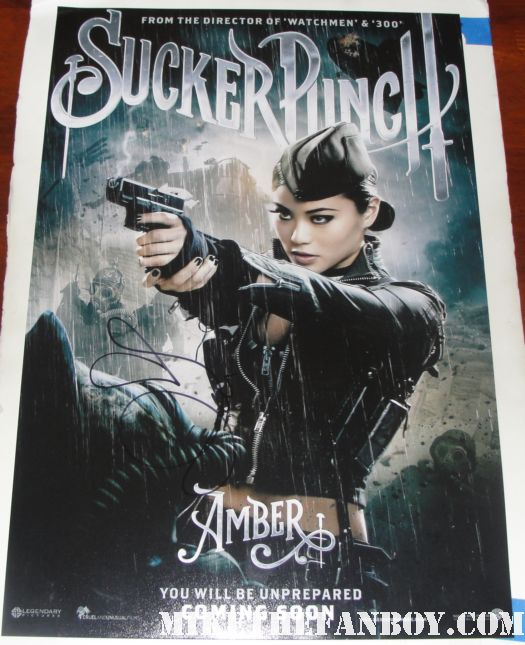 jamie chung and jena malone signed autograph sucker punch promo mini poster rare hot sexy girls guns abbie cornish hot sexy rare emily browning