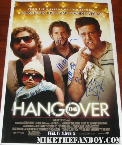 cast signed hangover mini poster bradley cooper justin bartha ken jeong rare autograph hot sexy promo hand signed