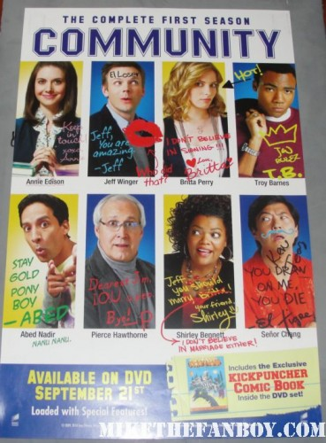 ken jeong signed autograph cast community promo san diego comic con 2011 promo mini poster rare hand signed autograph chevy chase