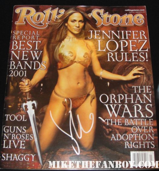jennifer lopez jlo jenny from the block signed autograph 2001 rolling stone magazine rare promo hot sexy bickini  photo shoot jennifer lopez jenny from the block jlo stops to sign autographs at simon fuller's walk of fame ceremony signed autograph hot sexy photo shoot promo rolling stone love cd rare promo poster hot fine