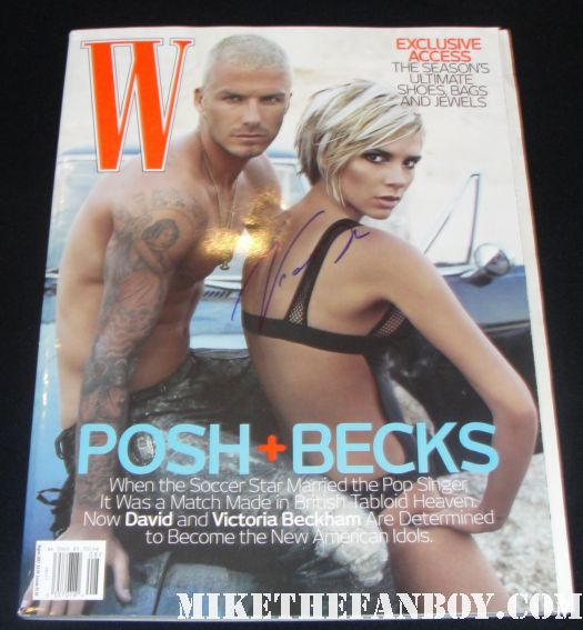 david beckham victoria beckham signed autograph shirtless sexy hot w magazine rare photo shoot promo tatoo bickini damn fine skin muscle abs workout