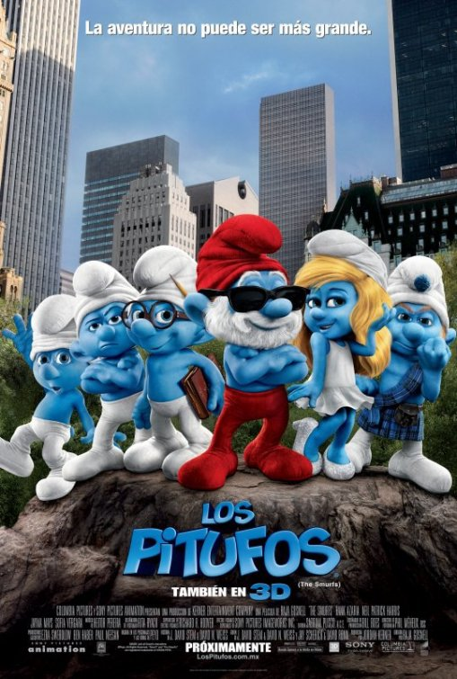 the smurfs one sheet movie poster rare promo pappa smurf jonathan winters katy perry alan cumming rare blue men peyo