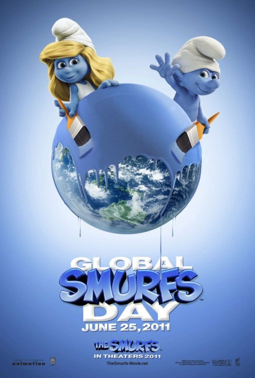 The Smurfs rare one sheet movie poster promo Global smurfs day June 25, 2011 rare teaser poster smurfette clumsy smurf papa smurf smurf villiage rare blue creatures