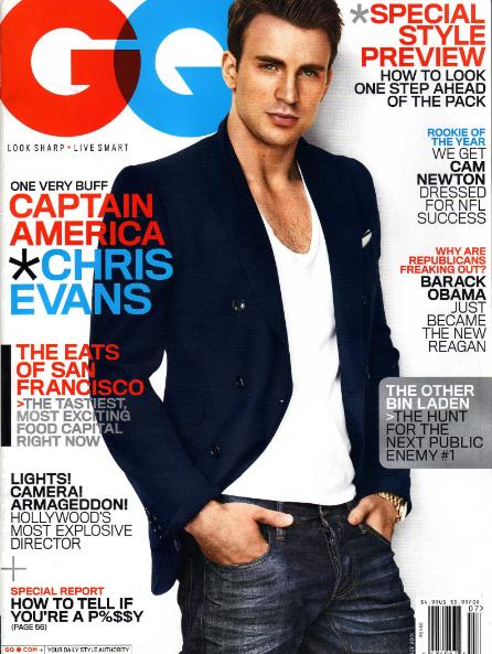chris evans gq magazine cover sexy hot rare promo hot chest workout muscle captain america the first avenger promo