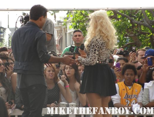 christina aguilera and mario lopez at a taping of extra at the grove promoting the voice on NBC rare  sexy hot signed autograph promo back to basics ac slater saved by the bell sexy