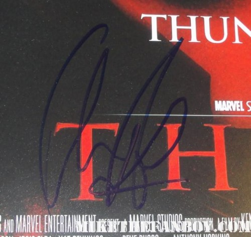 chris hemsworth signed, autograph promo mini poster rare thor god of thunder promo mini poster promo rare hot sexy