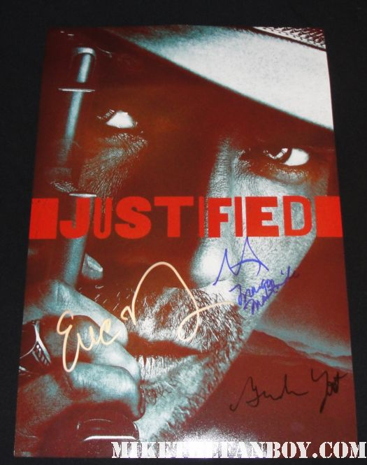 justified cast signed autograph promo mini poster rare Timothy Olyphant, Walton Goggins, Margo Martindale, Joelle Carter, Erica Tazel, Nick Searcy and Natalie Zea sexy hot rare emmy screening los angeles q and a