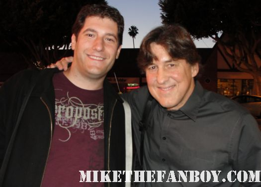 Cameron Crowe posing for a photo with mike the fanboy before a q and a in los angeles signed autograph promo almost famous say anything rare jerry maguire singles fast times at ridgemont high