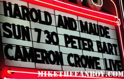 cameron crowe's name on a marquee at a movie theatre in los angeles before a q and a