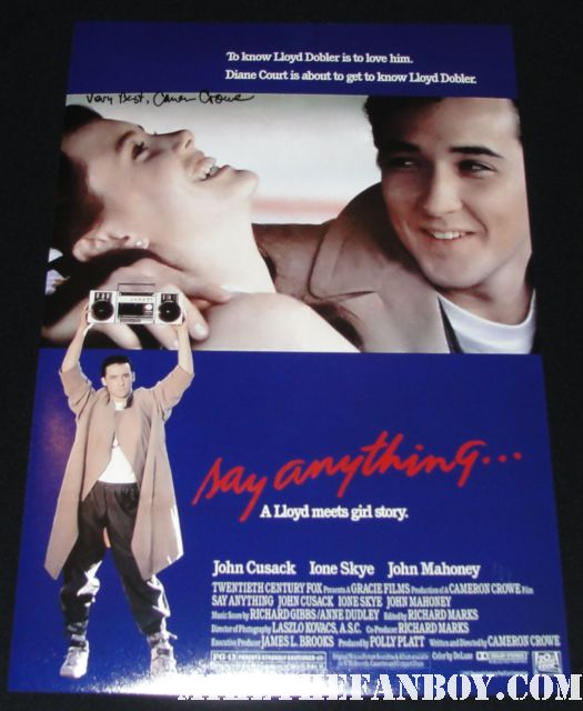 say anything hand signed autographed mini movie poster by cameron crowe rare promo john cusak