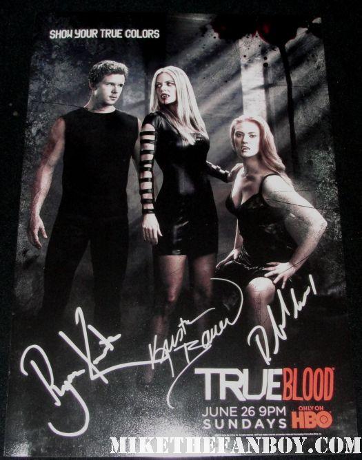 ryan kwanten deborah ann woll kristin bauer signed autograph season 4 true colors promo mini poster hot sexy rare promo