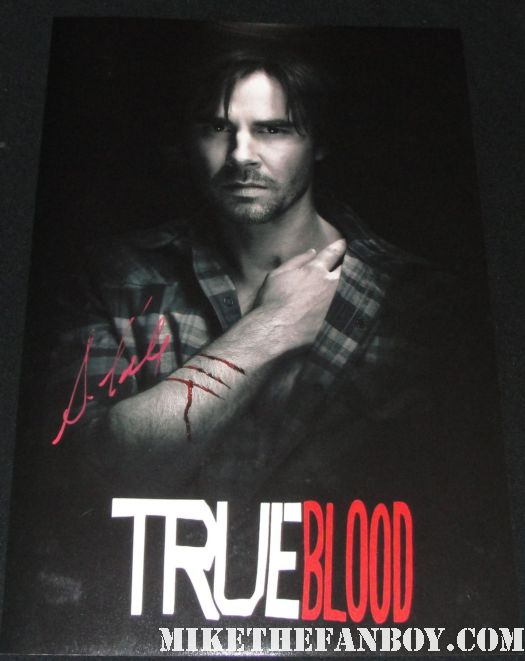 sam trammell signed autograph true blood season 2 rare mini poster sam merlotte blood red paint pen sexy
