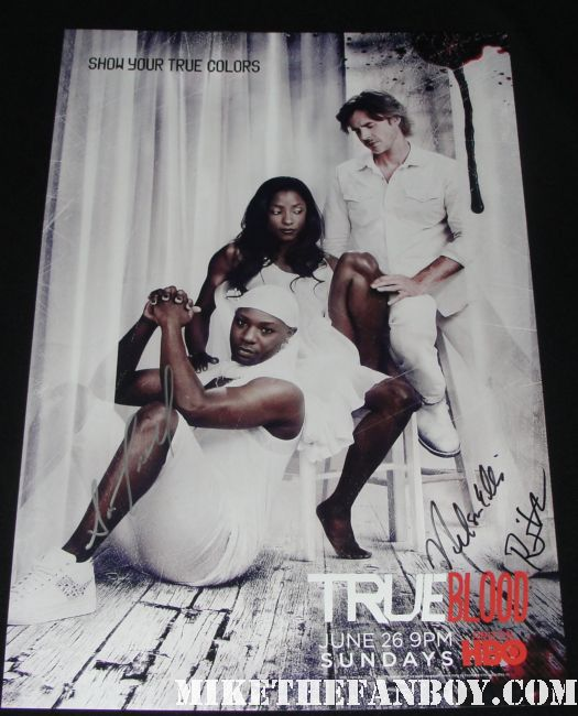 sam trammell nelsan ellis rutina wesley signed autograph true blood season 4 true colors promo mini poster hot sexy damn fine