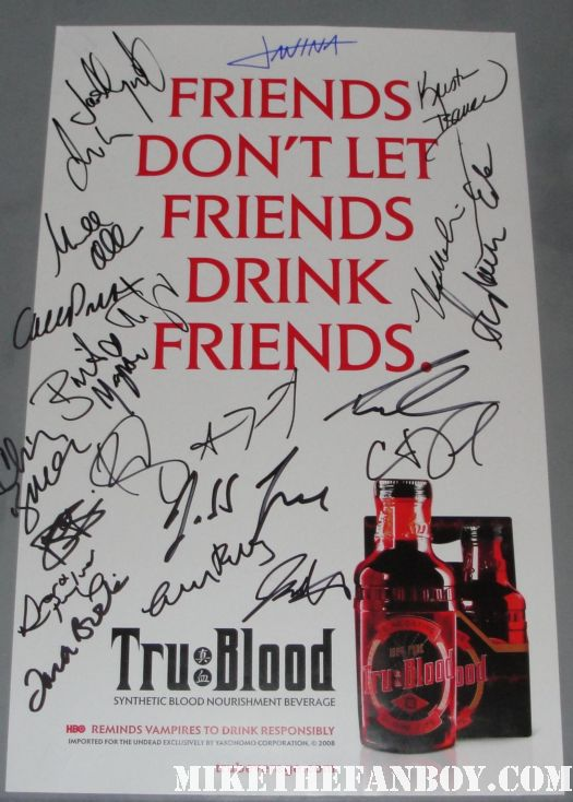 true blood signed autograph don't let friends drink friends rare promo mini poster hot sexy signed promo season 1 true blood anna paquin