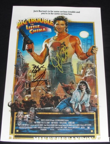 John Carpenter and James hong signed autograph big trouble in little china rare promo mini poster kurt russell hot sexy one sheet movie poster rare