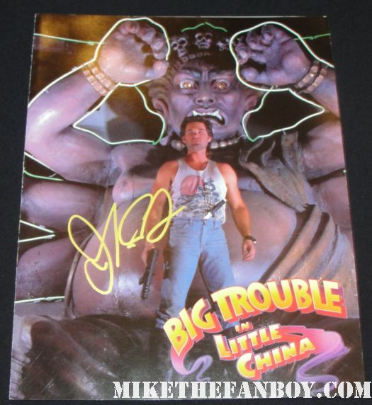 original theatrical screening card for big trouble in little china John Carpenter and James hong signed autograph big trouble in little china rare promo mini poster kurt russell hot sexy one sheet movie poster rare
