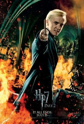 Draco-Malfoy-in-Harry-Potter-and-the-Deathly-Hallows-Part-2 tom felton promo mini poster individual promo one sheet movie poster promo draco fighting