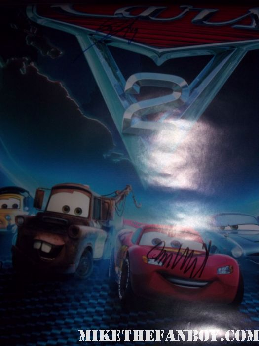 walt disney pixar cars 2 rare promo one sheet movie poster signed autograph owen wilson bonnie hunt rare promo