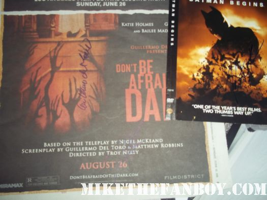 katie holmes guillermo del toro signed autograph don't be afraid of the dark rare promo ad poster one sheet batman begins dvd autograph signed pieces of april photo picture signature