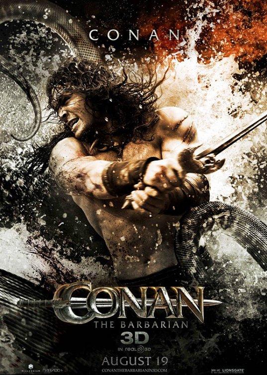 Conan the Barbarian rare individual one sheet movie poster jason momoa shirtless sexy hot rare promo muscle abs workout stargate