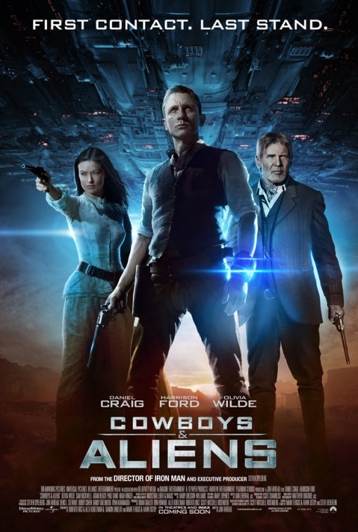 rare cowboys and aliens rare mini promo poster olivia wilde harrison ford daniel craig hot sexy promo jon favreau signed autograph indiana jones tron legacy james bond