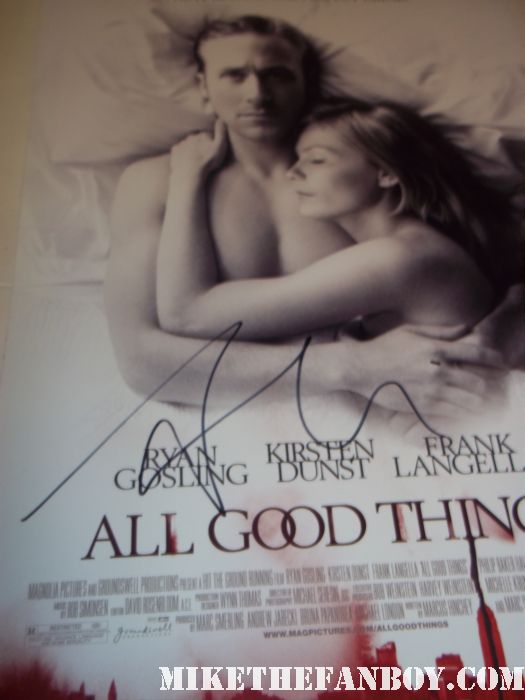 sexy ryan gosling signed autograph all good things rare promo mini movie poster kristen dunst drive movie premiere los angles film festival hot sexy shirtless poster hot muscle rare