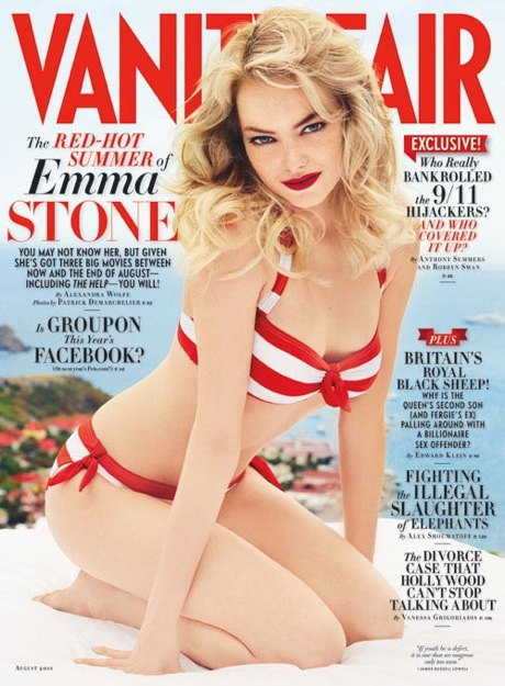sexy emma stone looks hot and sexy as a blonde in the new august 2011 issue of vanity fair magazine photo shoot easy a the help zombieland superbad stupid crazy love friends with benefits