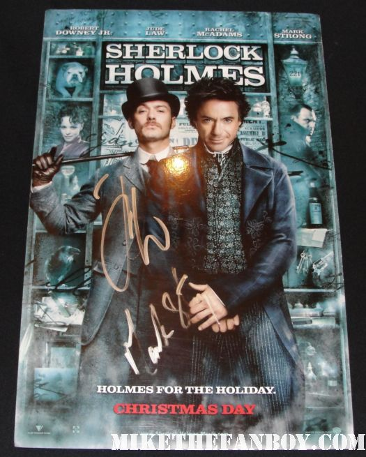 mark strong hand signed autograph rare sherlock holmes counter standee poster promo mini  hot sexy rare promo autograph signed jude law