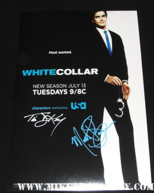 matt bomer and tim dekay signed autograph rare white collar promo poster hot sexy season 1 promo poster