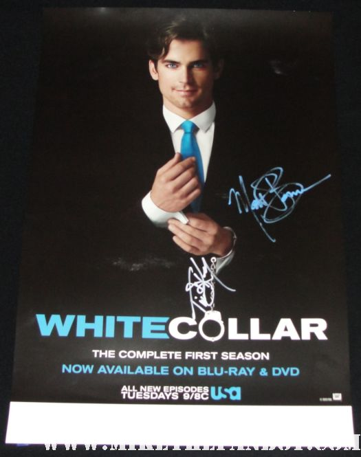 matt bomer and tim dekay signed autograph rare white collar promo poster hot sexy season 1 promo poster fine damn