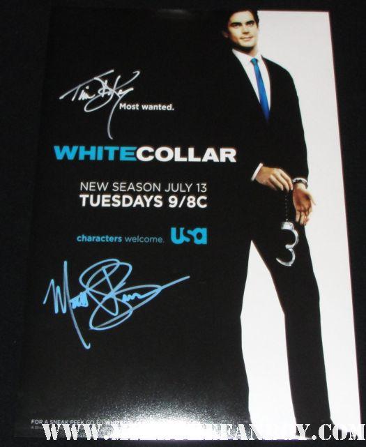 matt bomer and tim dekay signed autograph rare white collar promo poster hot sexy season 2 promo poster hot sexy rare promo autograph damn fine rare