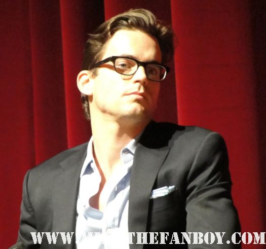 the opening screen for the emmy screening series of White Collar with Matt Bomer and Tim dekay with willie willie garson matt bomer looking hot and sexy at a q and a suit jeans wet promo photo shoot damn fine