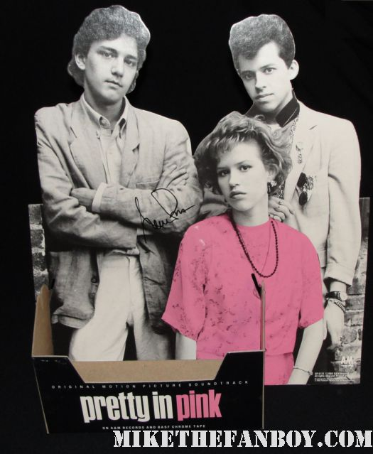 rare pretty in pink die cut counter standee signed autograph original 1980s video store release molly ringwald jon cryer andrew mccarthy harry dean stanton annie potts pretty in pnk and designing women star ms. annie potts stops to sign autoraphs for a couple fans after her play on melrose in  rare pretty in pink signed autograph promo mini poster molly ringwald andrew mccarthy hot rare